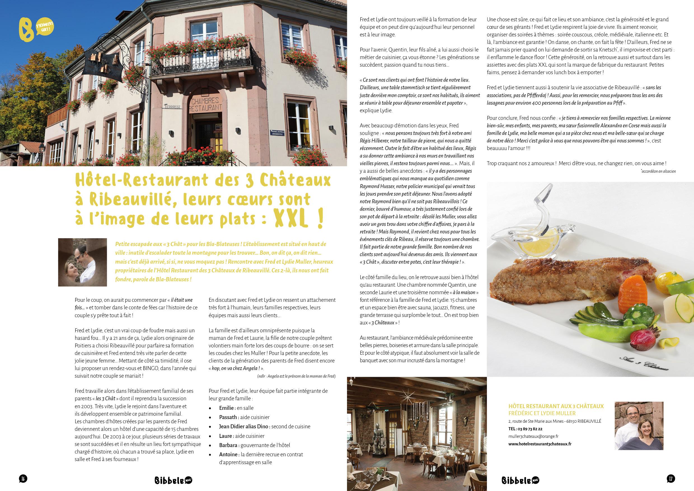 Article sur l'Hôtel-Restaurant aux 3 Châteaux issu du Bibbele Mag numéro 8