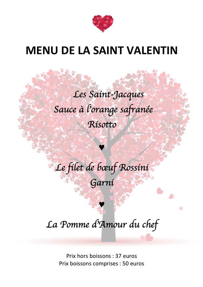 Menu de la Saint Valentin de l'Hôtel Restaurant des 3 Châteaux à Ribeauvillé